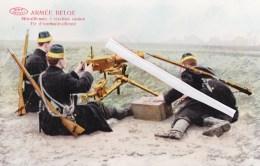 Armée BELGE - Mitrailleuses à Traction Canine - Tir D'une Mitrailleuse - Splendide Carte Colorée Et Glacée - Uniformes