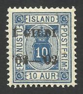 Iceland, 10 A. 1902, Sc # O23, Mi # 13Bb, MNH. - Officials