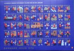 Denmark Christmas Seal 1974 MNH ( **)  Full Sheet  Unfolded  Postmen - Full Sheets & Multiples