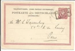 ENTIER DE LEIPZIG POUR LA FRANCE DU 2/4/1883 - Briefe U. Dokumente
