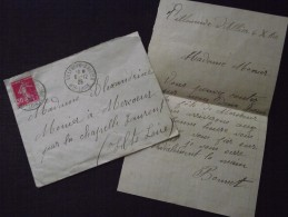 VILLENEUVE-d´ALLIER (Haute-Loire) - Enveloppe Et Courrier - Pour MERCOEUR (La CHAPELLE-LAURENT) - 6 Décembre 1925-A Voir - France