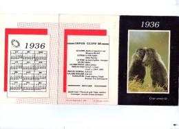 Calendrier De 1936 Petit Format Dépliant En 3 Paries - Kalenders