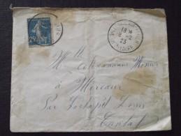 VILLENEUVE-d´ALLIER (Haute-Loire) - Enveloppe - Pour MERCOEUR (La CHAPELLE-LAURENT, Cantal) - 8 Février 1923 - A Voir ! - France