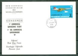 New Hebrides 2 Envelopes 1976 - Concorde First Commercial Flight - Port-Vila 30/01/1976 (2 Scans) - FDC