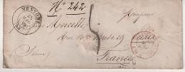 """FRANCE : LETTRE TAXEE . POUR """" PARIS . OBL CAD SARDE DE """" MENTON . 1859 . - Poststempel (Briefe)"""