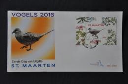 ST. MAARTEN 2016 FDC 68-71 VOGELS BIRDS OISEAUX BLANK - Curaçao, Antille Olandesi, Aruba