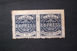 "SAMOA 1877 -1882 Express Stamps 1 P Ultramarine Line Above ""X"" Broken  MNLH PERFORATION  11 3/4 - American Samoa"
