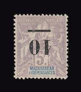 MADAGASCAR N° 49a 10 Sur 5f Violet. Centrage Parfait. Surcharge Renversée. Neuf Avec *. Signé Brun. Cote Yvert 170 Euros - Madagascar (1889-1960)