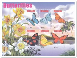 Grenada 2002, Postfris MNH, Flowers, Butterflies - Grenada (1974-...)