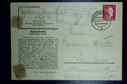 Deutschland Cover Frauen-Konzentrationslager Ravensbrück To Warschau 3-12-1942 Cancel Fürstenberg