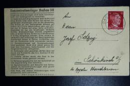 Deutschland Letter Konzentratiosnlager Dachau 3K Concentrationcamp To Schönkirsch Upper Silesia  3-8-1943 Text Inside