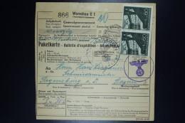 Deutschland Pakket Karte To Konzentratiosnlager Regensburg From Warschau 25-7-1941