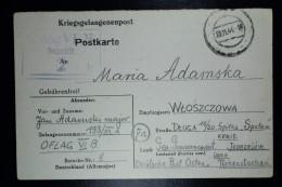 Deutschland Kriegsgefangenenpost  OFLAG VI B Eichstätt, Bavaria Polish Officers Camp To Wtoszczowa Poland GG DPO - Deutschland