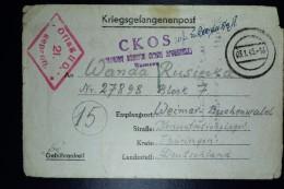 Deutschland Postkarte From  OFLAG II D Gross-Born To Konzentrationslager Buchemwald 3-1-1945  Kriegsgefangenpost - Allemagne