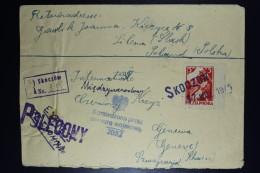 Poland: Registered Cover Straightline SKOCZOW Mi 392 Fi 360, Via Ankara To Red Cross Geneva 17-9-1945 Blue Eagle Censor - Storia Postale