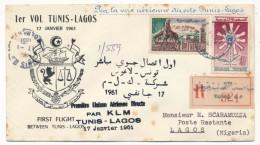 """TUNISIE - Première Liaison Aérienne Directe Par KLM """"TUNIS - LAGOS"""" - 17 Janvier 1961 - Tunisia"""