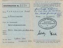 LEGITIMATION ÖGB Für öffentliche Angestellte 1951 - Historische Dokumente