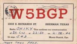 SHERMAN TEXAS QSL Karte Versendet 1946 Gel.nach Czechoslowakei - Radio