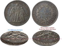 RARE VARIANTE PIECE ARGENT 5 FRANCS HERCULE 1873 A - Variétés Et Curiosités