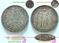 RARE VARIETé PIECE ARGENT 5 FRANCS HERCULE 1873 ACCENT LONG ÉTOILE HORIZONTALE - Variétés Et Curiosités