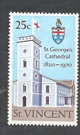 St. Vincent    1970 The 150th Anniversary Of St. George´s Cathedral, Kingstown MNH - St.Vincent (...-1979)