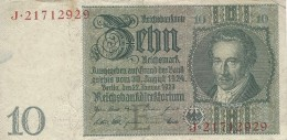 GERMANY 10 REICHSMARK 1929 P-180a VF UNDERPRINT E S/N J*21712929 [ DER180a ] - [ 3] 1918-1933 : Weimar Republic