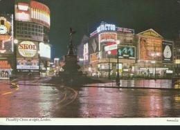 LONDRA - PICCADILLY   CIRCUS - DI  NOTTE - VIAGGIATA - - Piccadilly Circus