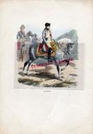 LITHOGRAPHIE NAPOLEON EMPEREUR- SUR PAPIER COUCHE AQUARELLE A LA MAIN- HORACE VERNET- LAURENT DE L´ ARDECHE-1840 - Litografía