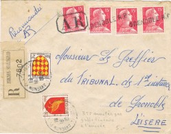 19574. Carta Certificada AVIGNON- Stalingrad (France) 1956. Lineal, Lineaire GRENOBLE. Ferrocarril Gare - France