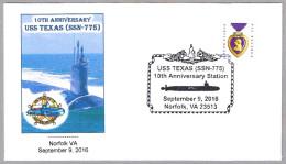 10 Años Submarino Nuclear USS TEXAS (SSN-775). Norfolk VA 2016