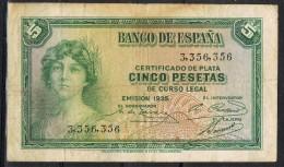 Billete España 5 Pesetas 1935. Republica, Sin Letra De Serie - [ 2] 1931-1936 : République