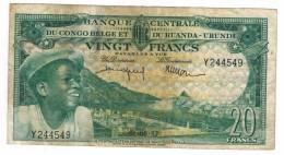 Belgian Congo 20 Fr. 1957, VF. Free Ship. To USA - [ 5] Belgian Congo