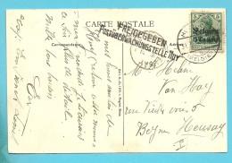 BZ2 Op Kaart Met Duitse Brugstempel HUY - HOEI , Censuur FREIGEGEBEN Postuberwachungstelle HUY - WW I