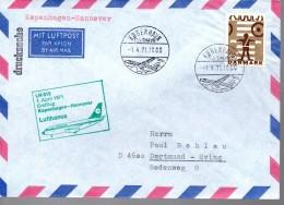 DANEMARK Lettre Poste Aerienne  1971 Avions  Securité Routiére Agent - Vliegtuigen
