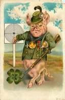 ILLUSTRATEUR - 051016 -  Cochon Porc Chance Cible Carabine Médaille Trèfle à Quatre Feuilles - 1900-1949