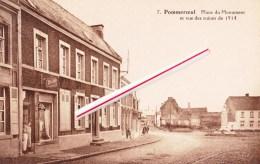"""POMMEROEUL - Place Du Monument Et Vue Des Ruines De 1914 - Avec Sur La Gauche Le Commerce """"Au Louvre"""" - Bernissart"""