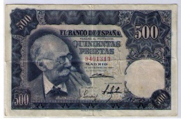 BILLETE DE 500 PESETAS DE 1951 - SIN SERIE -  USADO BONITO - [ 3] 1936-1975: Regime Van Franco