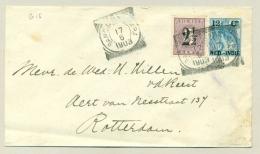 Nederlands Indië - 1903 - 12,5 Cent Opdruk Op Bontkraag, Envelop G15, Met 2,5 Cent Bijfrankering Naar Rotterdam - Nederlands-Indië