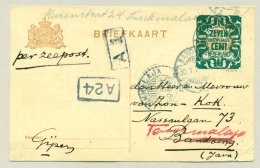 Nederlands Indië - 1921 - KBu Tasikmalaja Op Doorgezonden Kaart Uit Nederland - Nederlands-Indië