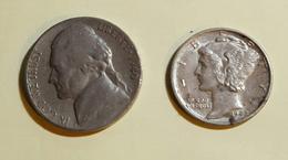 Etats Unis Five Cent 1940 Et One Dime 1942 Voir Les Deux Photos - Kilowaar - Munten