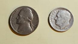 Etats Unis Five Cent 1959 Et One Dime 1956 Voir Les Deux Photos - Kilowaar - Munten