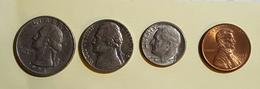 Etats Unis Quater Dollards 1994 Five Cent 1976 One Dime 1977 On Cent1993 Voir Les Deux Photos - Kilowaar - Munten