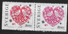 Suède 1998 N°2019/2020 Oblitérés En Paire Saint Valentin - Used Stamps