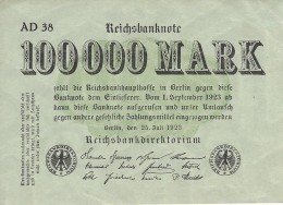 GERMANY 100000 MARK 1923 P-91a XF+ SERIE AD 38, GREEN PAPER [ DER091 ] - [ 3] 1918-1933: Weimarrepubliek