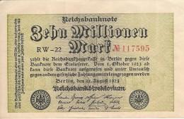 GERMANY 10 MILLION MARK 1923 P-106a XF/AU S/N RW-22 117595 [ DER106a ] - [ 3] 1918-1933 : Weimar Republic