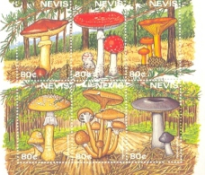 NEVIS  1026 MINT NEVER HINGED MINI SHEET OF MUSHROOMS - Paddestoelen