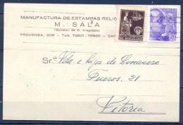 1939 , BARCELONA - VITORIA , TARJETA POSTAL COMERCIAL CIRCULADA , BARCELONA ED. 23 , CENSURA - 1931-50 Brieven