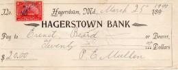 1901  HAGERSTOWN BANK - Assegni & Assegni Di Viaggio