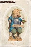 CHROMO DECOUPIS COCHON JOUANT AUX DES JEU PIG COLLAGE - Animales