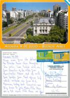 Avenida 9 De Julio, Buenos Aires, Argentina Postcard Posted 2003 Stamp - Argentine